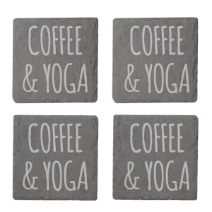 Coffee & Yoga Engraved Slate Coaster Set