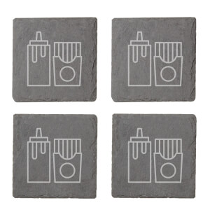 Condiments Engraved Slate Coaster Set