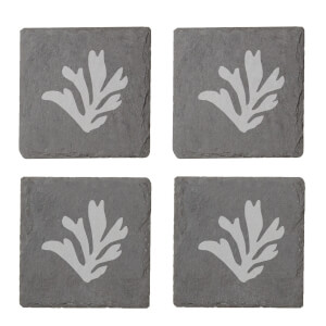 Coral Engraved Slate Coaster Set