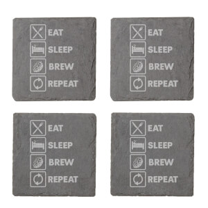 Eat, Sleep, Brew & Repeat Engraved Slate Coaster Set