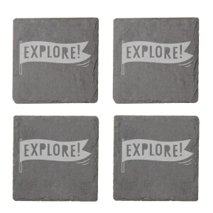 Explore Engraved Slate Coaster Set