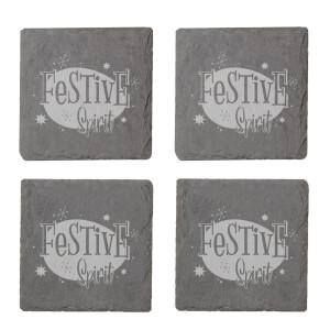 Festive Spirit Engraved Slate Coaster Set