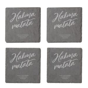 Hakuna Matata Engraved Slate Coaster Set