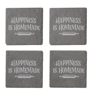 Happiness Is Homemade Engraved Slate Coaster Set