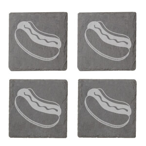 Hotdog Engraved Slate Coaster Set