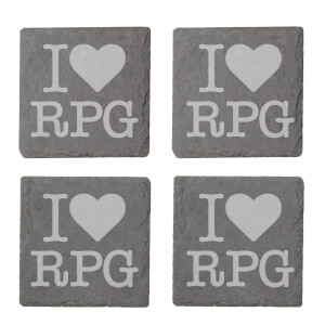 I Love RPG Engraved Slate Coaster Set