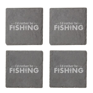 I'd Rather Be Fishing Engraved Slate Coaster Set