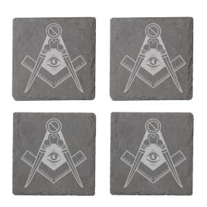 Illuminati Free Mason Symbol Engraved Slate Coaster Set