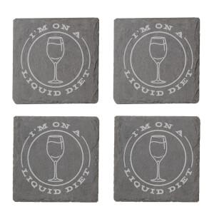 I'm On A Liquid Diet Engraved Slate Coaster Set