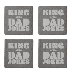 King Of The Dad Jokes Engraved Slate Coaster Set