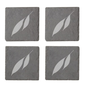 Leaves Engraved Slate Coaster Set