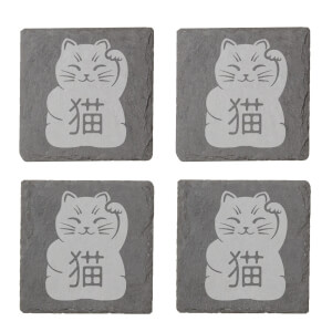Lucky Cat Engraved Slate Coaster Set