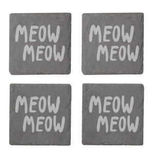 Meow Meow Engraved Slate Coaster Set