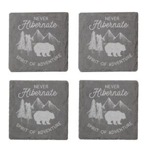 Never Hibernate Engraved Slate Coaster Set