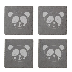 Panda Engraved Slate Coaster Set