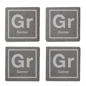 Periodic Gamer Engraved Slate Coaster Set