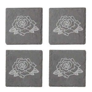 Rose Engraved Slate Coaster Set