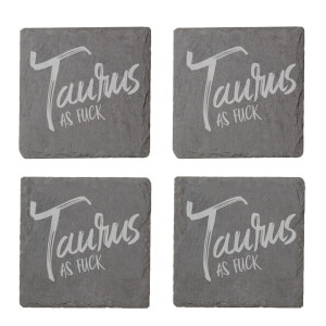 Taurus As Fuck Engraved Slate Coaster Set