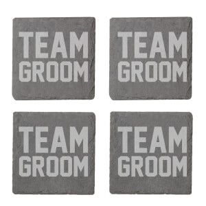 Team Groom Engraved Slate Coaster Set