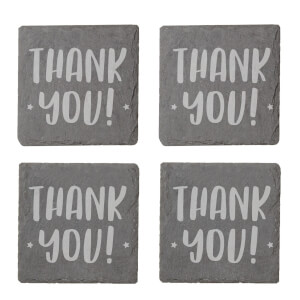 Thank You Engraved Slate Coaster Set