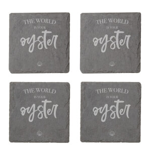 The World Is Your Oyster Engraved Slate Coaster Set