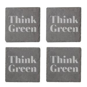 Think Green Engraved Slate Coaster Set