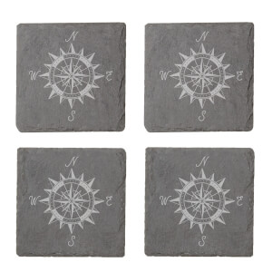 Vintage Compass Engraved Slate Coaster Set