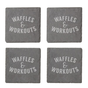 Waffles & Workouts Engraved Slate Coaster Set