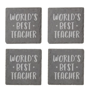 World's Best Teacher Engraved Slate Coaster Set