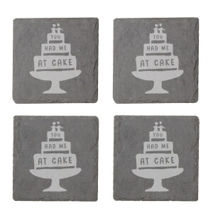 You Had Me At Cake Engraved Slate Coaster Set