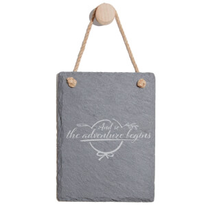 And So The Adventure Begins Engraved Slate Memo Board - Portrait