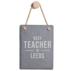Best Teacher In Leeds Engraved Slate Memo Board - Portrait