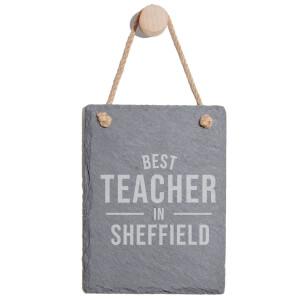 Best Teacher In Sheffield Engraved Slate Memo Board - Portrait