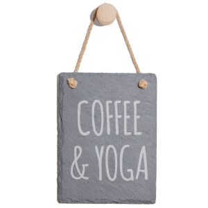 Coffee & Yoga Engraved Slate Memo Board - Portrait