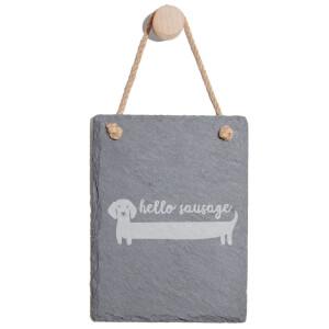 Hello Sausage Engraved Slate Memo Board - Portrait
