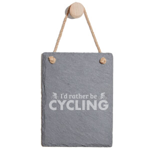 I'd Rather Be Cycling Engraved Slate Memo Board - Portrait