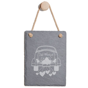 Just Married Car Engraved Slate Memo Board - Portrait