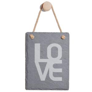 LOVE Engraved Slate Memo Board - Portrait