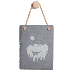 Mountain Scenery Engraved Slate Memo Board - Portrait