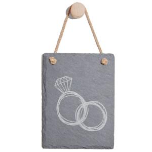 Rings Engraved Slate Memo Board - Portrait