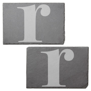 Lowercase R Engraved Slate Placemat - Set of 2