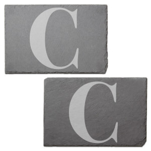 Uppercase C Engraved Slate Placemat - Set of 2