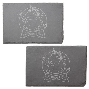 Be Magical & Shit Engraved Slate Placemat - Set of 2