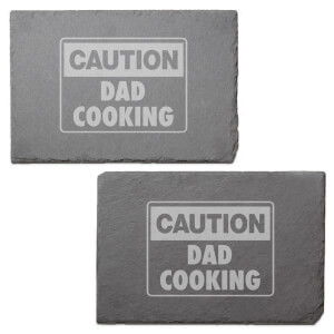 Caution Dad Cooking Engraved Slate Placemat - Set of 2