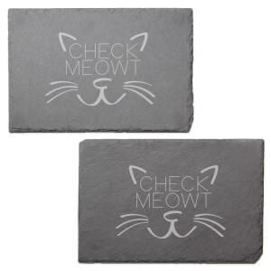 Check Meowt Engraved Slate Placemat - Set of 2