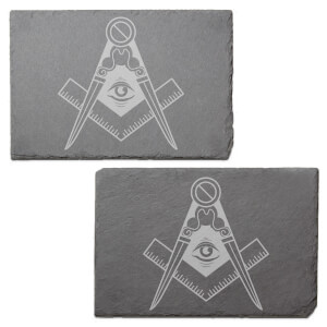 Illuminati Free Mason Symbol Engraved Slate Placemat - Set of 2