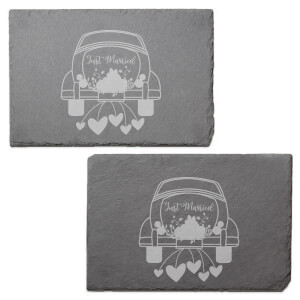 Just Married Car Engraved Slate Placemat - Set of 2