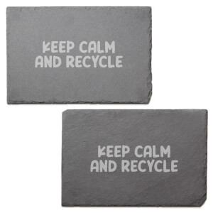 Keep Calm And Recycle Engraved Slate Placemat - Set of 2