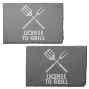 License To Grill Engraved Slate Placemat - Set of 2