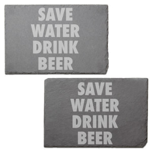 Save Water Drink Beer Engraved Slate Placemat - Set of 2